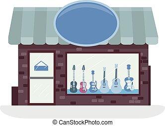 guitare, magasin, illustration