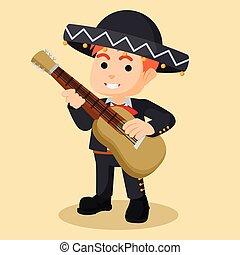 guitare, mariachi, jouer