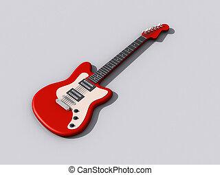 guitare, modèle, rouges, 3d