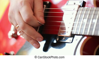 guitare, musicien, jouer, électrique
