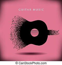 guitare, musique, fond