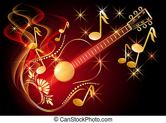 guitare, notes, musical