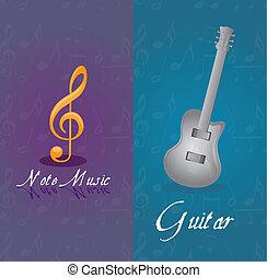 guitare, notes, musique