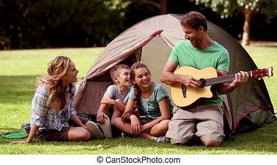 guitare, père, jouer