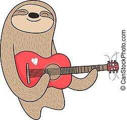 guitare, paresse, dessin animé, jouer