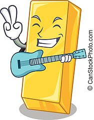 guitare, performance, barre, or, mascotte