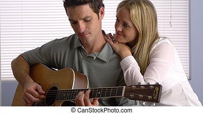 guitare, petite amie, sien, jouer, petit ami