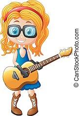 guitare, petite fille