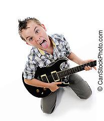 guitare, peu, musicien, jouer
