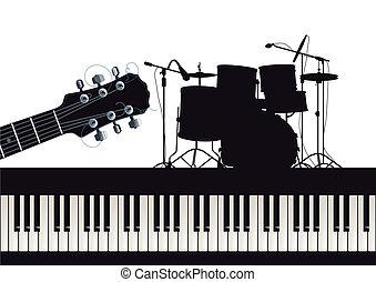 guitare, piano, tambours