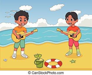 guitare, plage, enfants jouer