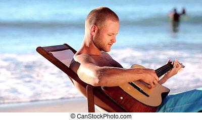guitare, plage, jouer, homme