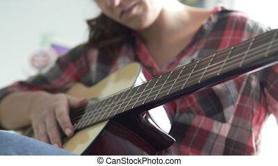 guitare, plaid, jeux, chemise, guitar., foyer., girl