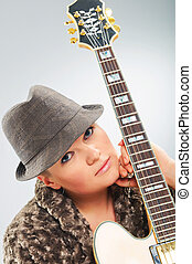 guitare, portrait, girl