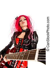 guitare, portrait, girl, séduisant