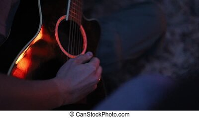 guitare, quoique, jouer, camping, homme