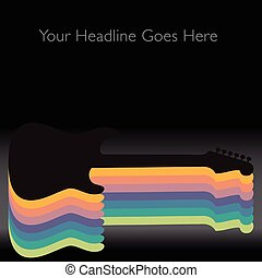 guitare, résumé, backgrou, coloré