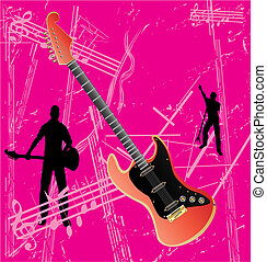 guitare, retro, fond