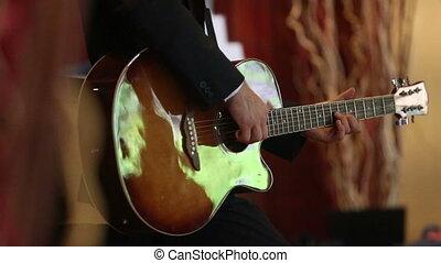 guitare, rideaux, homme, jeux, noir
