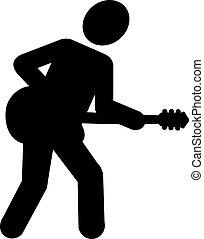 guitare, rockstar, pictogramme