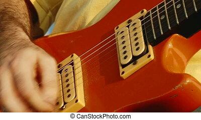 guitare, rouges, électrique