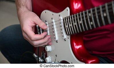 guitare, rouges, électrique, homme, haut, jouer, fin