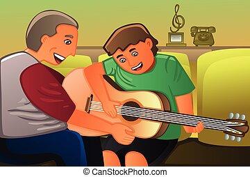 guitare, sien, père, jouer, fils