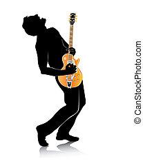 guitare, silhouette