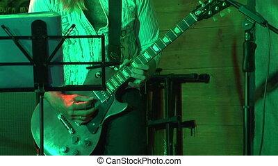 guitare, solo, électrique, jouer