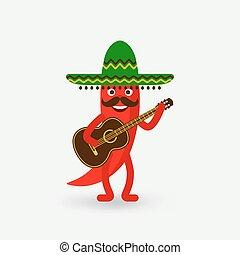 guitare, sombrero, poivre, piment