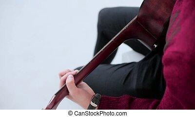 guitare, studio, fond, acoustique, blanc, jouer, homme