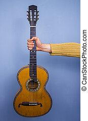 guitare, tenu, vieux, tendu, bras