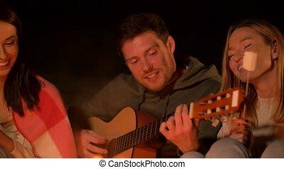 guitare, torréfaction, jouer, guimauve, amis