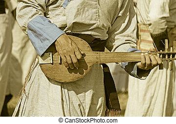 guitare, traditionnel, yobin, sien, homme