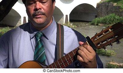 guitare, triste, jouer, homme