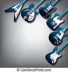 guitare, vecteur, fond