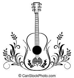 Guitare Tatouage Stylise Etre Utilise Tatouage Logotype