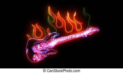 guitare, video., électrique, musique, plat, rocher, ...
