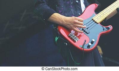 guitares, basse, électrique, rocher, concert., action.