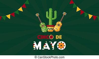 guitares, cinco, cactus, célébration, de, mexicain, mayonnaise