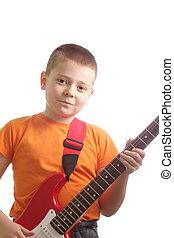guitarist, 中に, オレンジ