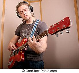 guitarist, 中に, スタジオ