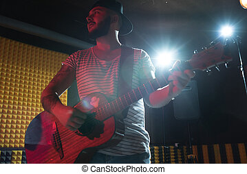 guitarist, 中に, レコーディングスタジオ