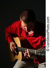 guitarist, 中に, 赤いシャツ