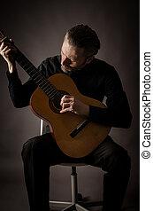 guitarist, 中に, a, スタジオ
