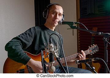 guitarist, 中に, a, レコーディングスタジオ