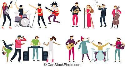 guitarist, 歌手, セット, 音楽家, indie, パンクロック, ジャズ, bands., 金属, ポンとはじけなさい, 隔離された, ベクトル, band., コツコツという音, ブルース, 音楽, ドラマー