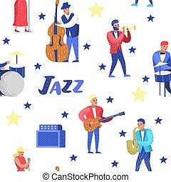 guitarist., 歌手, 特徴, 道具, contrabassist, ジャズ, pattern., seamless, イラスト, ベクトル, 音楽, artists., 音楽家, ドラマー, saxophonist, ミュージカル