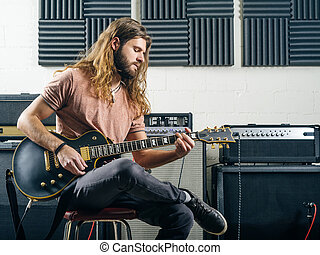 guitarist, 録音, 軌道に沿って進む, 中に, ∥, スタジオ