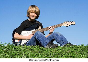 guitarist, 音楽家, 若い, ギター, 子が遊ぶ